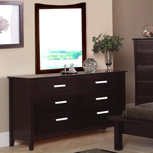 Coaster Stuart Contemporary 6 Drawer Dresser and Vertical Curved Crown Mirror