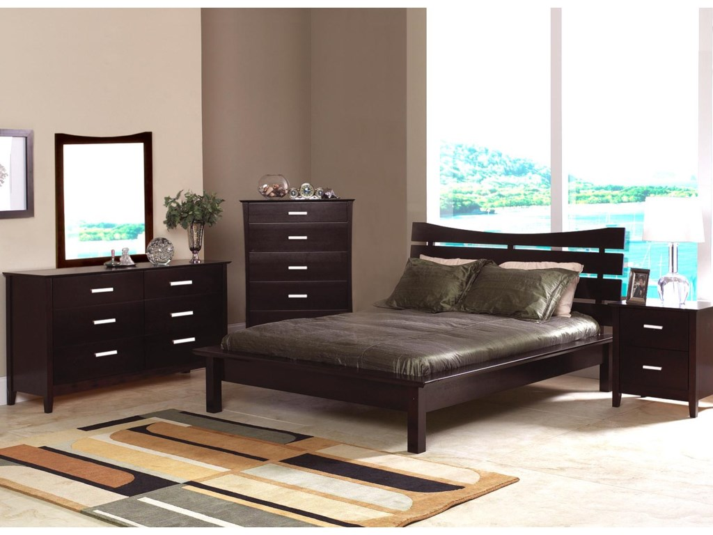 Shown in Room Setting with Mirror, Chest, Queen Bed, and Nightstand