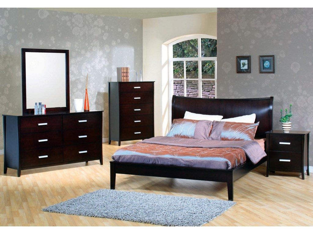 Shown in Room Setting with Dresser, Queen Bed, and Nightstand
