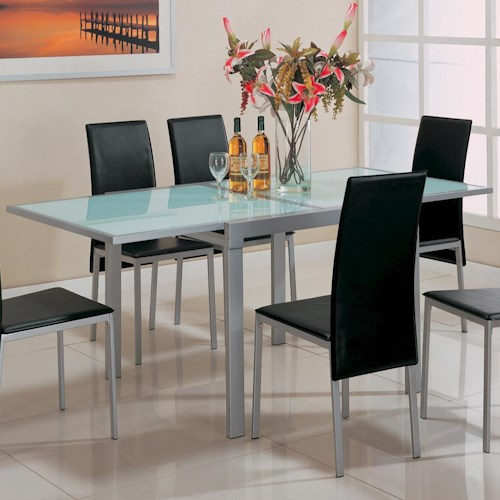 Coaster Sunrise Frosted Glass Dining Table with Metal Extensions