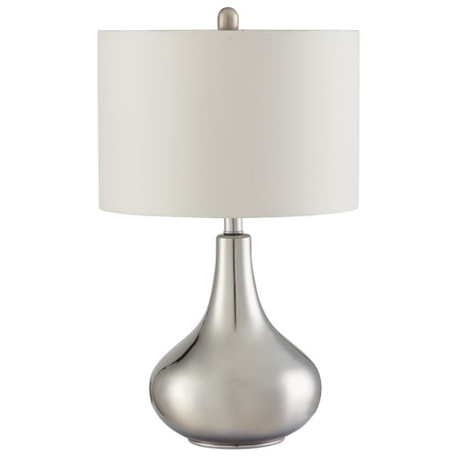 Coaster Table Lamps Teardrop Shape Table Lamp in Chrome Finish