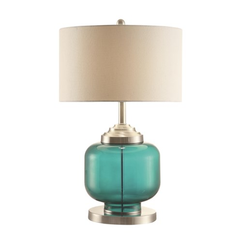 Coaster Table Lamps Turquoise Glass & Metal Lamp