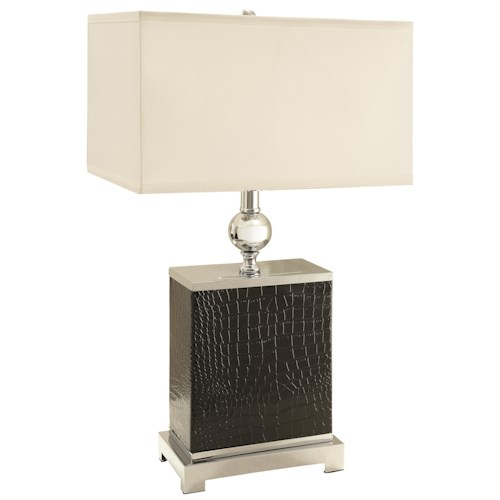 Coaster Table Lamps Black Faux Croc/Silver Finish Table Lamp