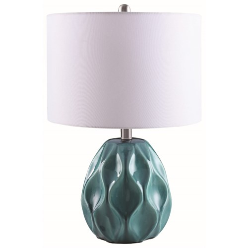 Coaster Table Lamps Contemporary Ceramic Turquoise Table Lamp