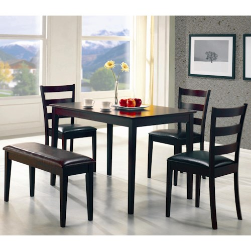Coaster Taraval 5 Piece Dining Set with Bench