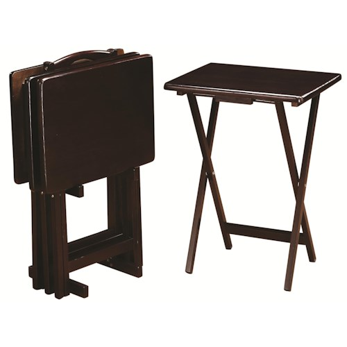 Coaster Tray Tables 5 Piece Cappuccino Tray Table Set