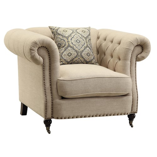 Coaster Trivellato Traditional Button Tufted Chair with Large Rolled Arms and Nailheads
