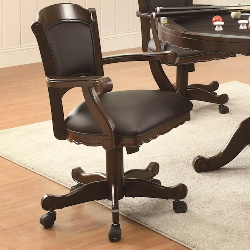 Coaster Turk Arm Game Chair with Casters and Fabric Seat and Back