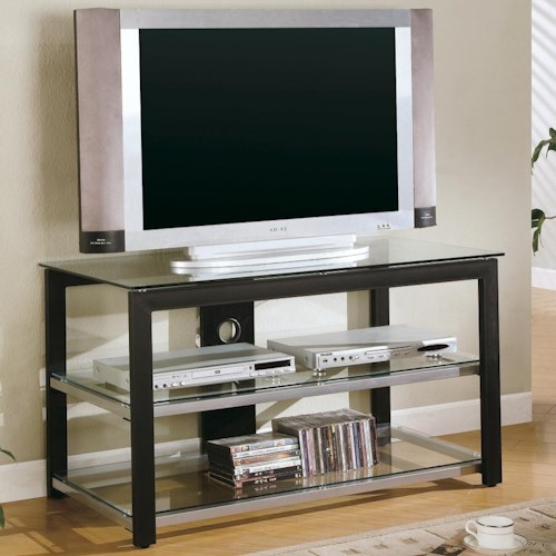 Coaster TV Stands Contemporary Metal and Glass Media Console