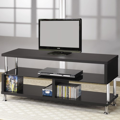 Coaster TV Stands Contemporary Media Console with Glass and Chrome Accents