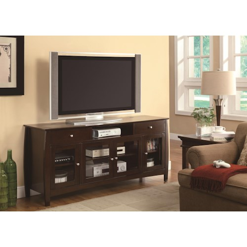 Coaster TV Stands CONNECT-IT TV Console in Dark Walnut Finish