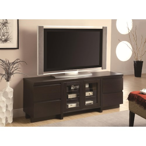 Coaster TV Stands Contemporary TV Console with 4 Drawers & 2 Glass Doors