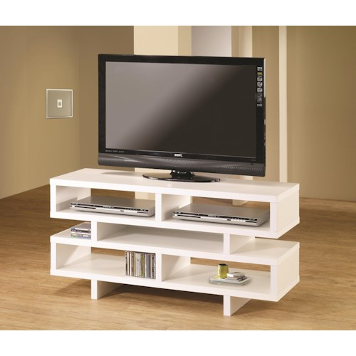 Coaster TV Stands Contemporary TV Console with Open Storage & White Finish