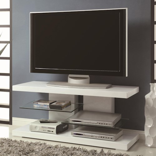 Coaster TV Stands Modern TV Stand with Alternating Glass Shelves