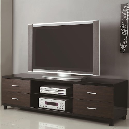 Coaster TV Stands 4 Drawer Two Tone TV Stand with 2 Shelves