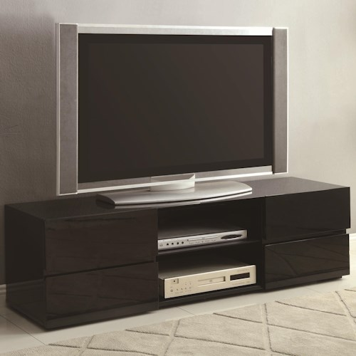 Coaster TV Stands High Gloss Black TV Stand with Glass Shelf