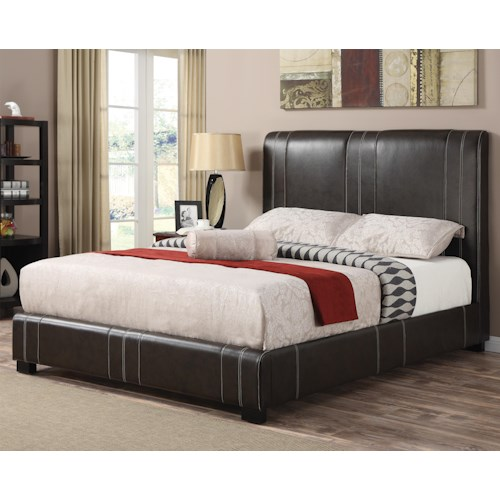 Coaster Upholstered Beds King Caleb Upholstered Bed in Dark Brown Faux Leather