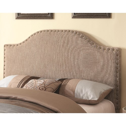 Coaster Upholstered Beds Helena Upholstered Headboard with Bonnet-Shaped Top and Nail Head Trim