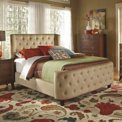 Coaster Upholstered Beds Queen Upholstered Tan Velvet Bed with Button Tufting