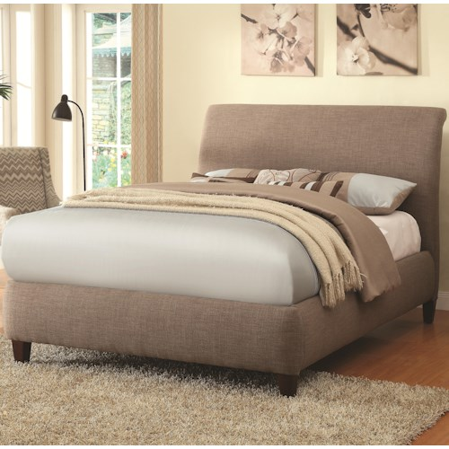Coaster Upholstered Beds Levine Upholstered Platform Queen Bed with Taupe Curved Headboard