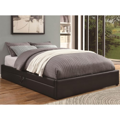Coaster Upholstered Beds Queen Storage Bed with Black Leather-Like Vinyl