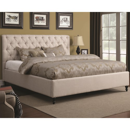 Coaster Upholstered Beds Queen Upholstered Bed with Tufted Headboard and Turned Wood Feet