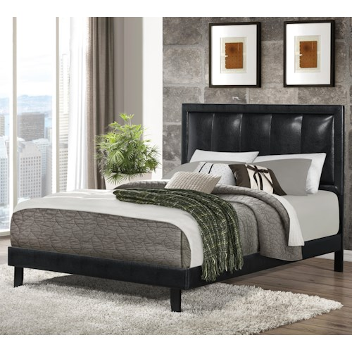 Coaster Upholstered Beds Full Granados Upholstered Bed with Black Leatherette
