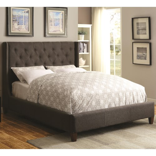 Coaster Upholstered Beds Upholstered California King Bed with Tall, Tufted Headboard