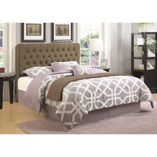 Coaster Upholstered Beds King Upholstered Headboard with Tufting in Light Color Fabric