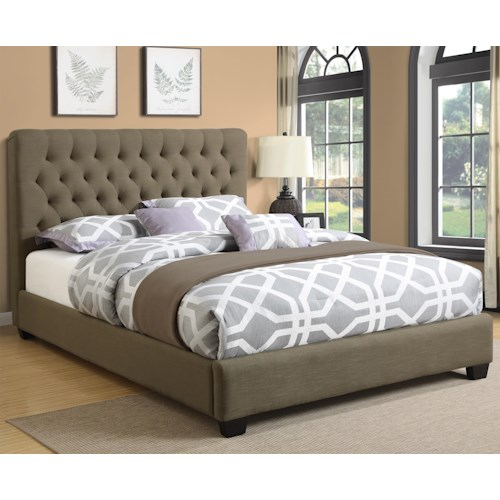 Coaster Upholstered Beds California King Chloe Upholstered Bed with Tufted Headboard & Neutral Color Fabric