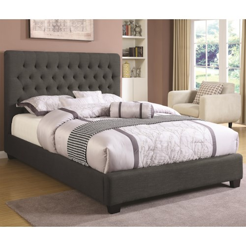 Coaster Upholstered Beds Full Chloe Upholstered Bed with Tufted Headboard & Neutral Color Fabric