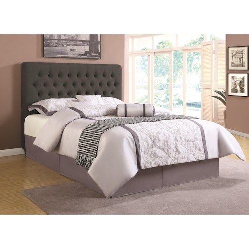 Coaster Upholstered Beds Full Upholstered Headboard with Tufting in Light Color Fabric