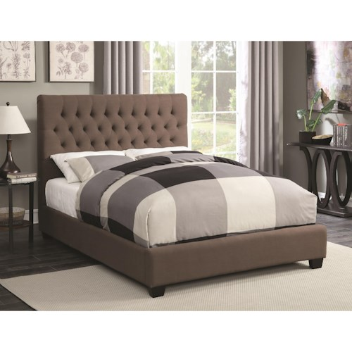 Coaster Upholstered Beds King Chloe Upholstered Bed with Tufted Headboard & Neutral Color Fabric