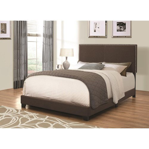 Coaster Upholstered Beds Upholstered King Bed with Nailhead Trim