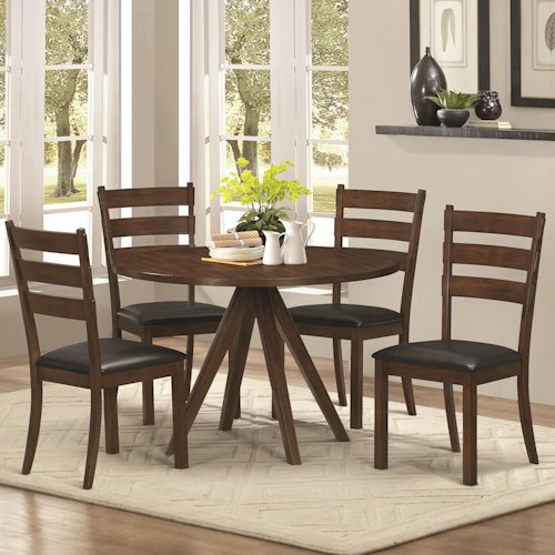 Coaster Urbana Rustic 5 Piece Table & Chair Set with Splayed Pedestal