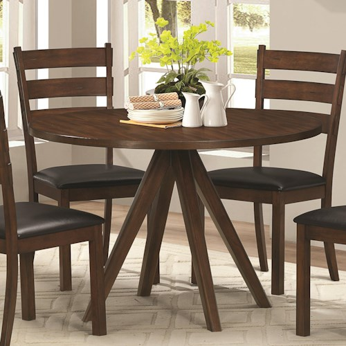 Coaster Urbana Rustic Dining Table with Splayed Pedestal Base