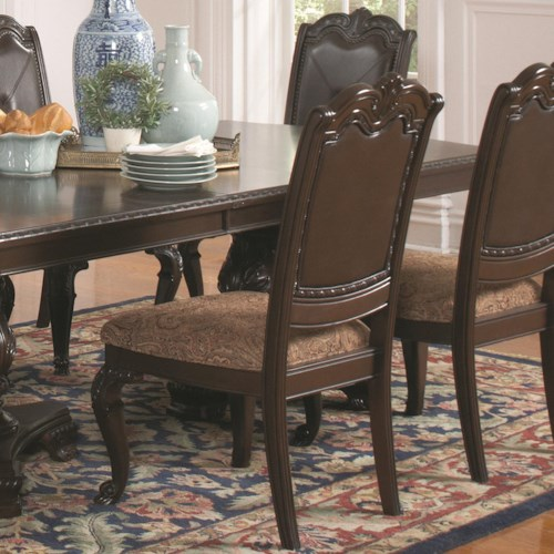 Coaster Valentina Traditional Dining Side Chair with Fabric Seat Cushion and Faux Leather Back with Nailheads