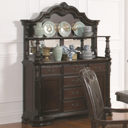 Coaster Valentina Traditional Buffet and Hutch with Silverware Storage and Mirrored Display Back
