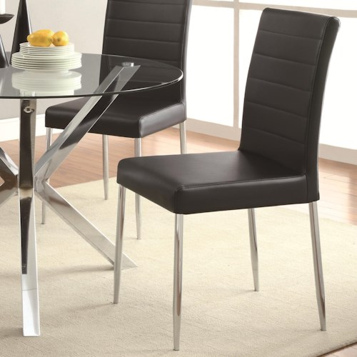 Coaster Vance Contemporary Dining Chair with Black Vinyl Seat Cushion