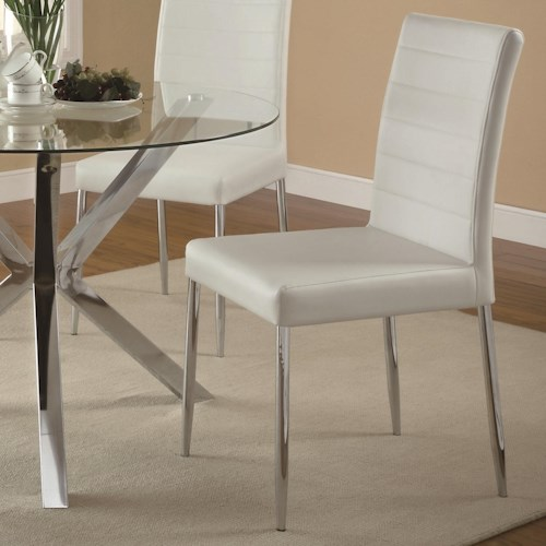Coaster Vance Contemporary Dining Chair with White Vinyl Seat Cushion