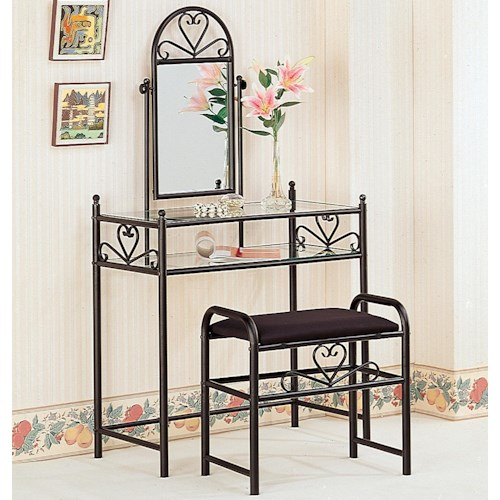 Coaster Vanities Casual Metal Vanity with Glass Top and Stool with Fabric Seat
