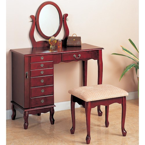 Coaster Vanities Traditional Vanity and Stool with Fabric Seat