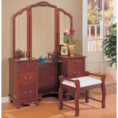 Coaster Vanities Traditional Vanity with Tri-fold Mirror and Stool with Fabric Seat