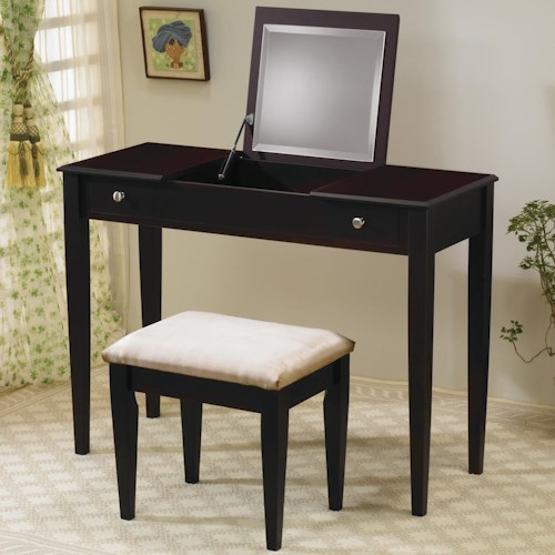 Coaster Vanities Contemporary Flip Top Vanity and Stool with Fabric Seat