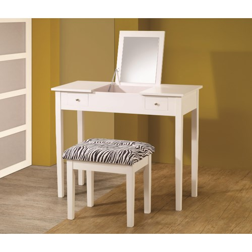 Coaster Vanities Contemporary White Lift-Top Vanity with Upholstered Stool