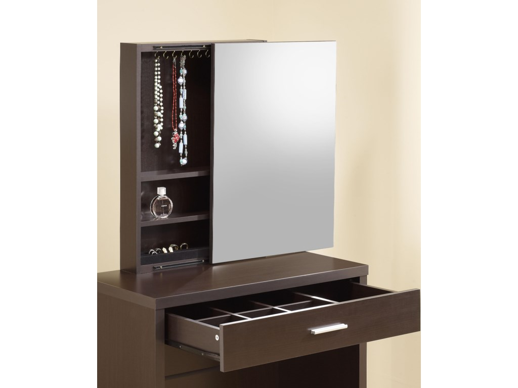 Hidden Mirror Storage and Partitioned Drawer