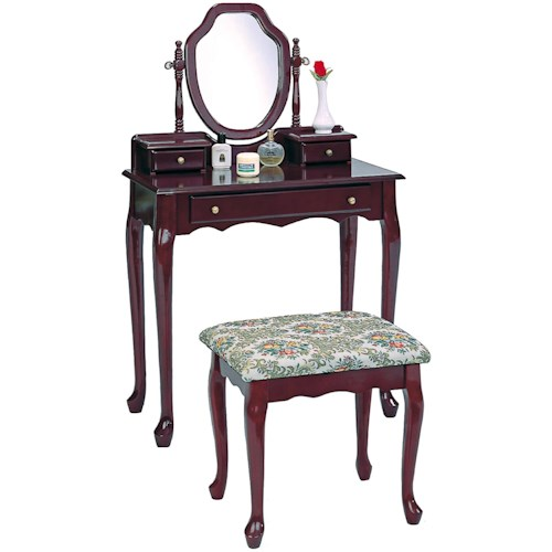 Coaster Vanities Traditional Vanity and Stool with Tapestry Fabric Seat
