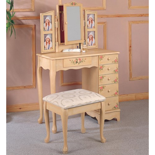 Coaster Vanities Traditional Cottage Style Vanity with Hand Painting and Stool with Fabric Seat