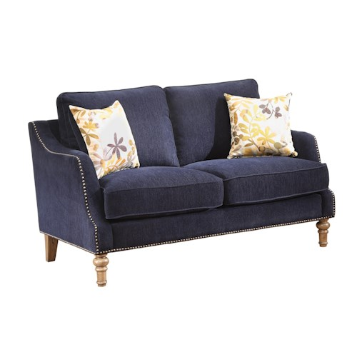 Coaster Vessot Transitional Loveseat with Nailhead Studs and Feather Cushion