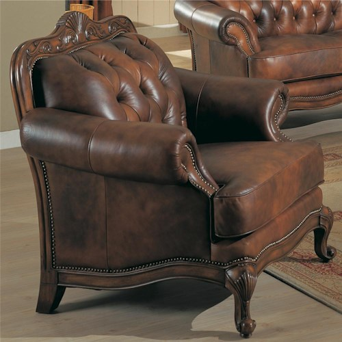 Coaster Victoria Rolled Arm Leather Chair